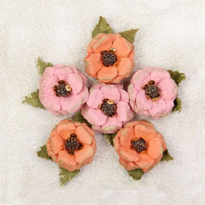 Paper flower set - Little Birdie - Victorian Teylie Coral 6 flowers.