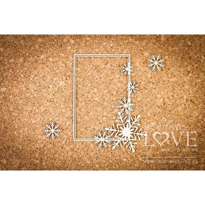 Tekturka ramka prostokątna ze śnieżynkami i gwiazdkami Noel -LA16081106 - Laserowe LOVE