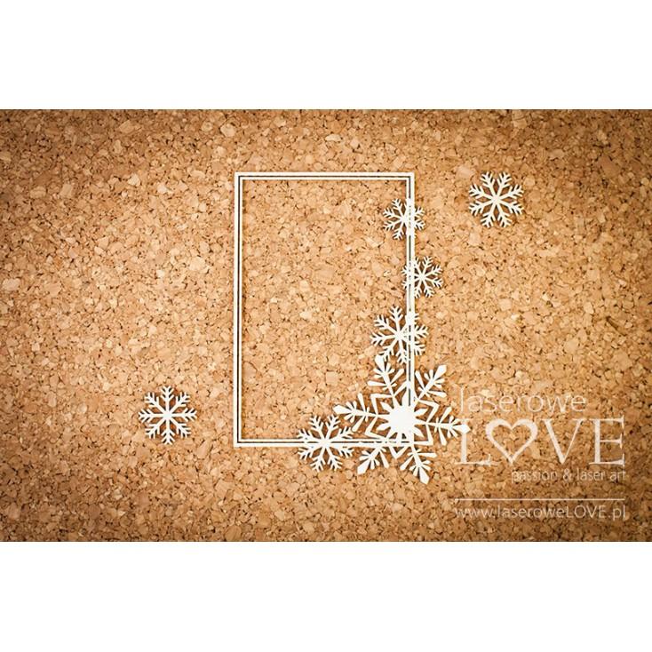 Laserowe LOVE - tekturka ramka prostokątna ze śnieżynkami i gwiazdkami Noel