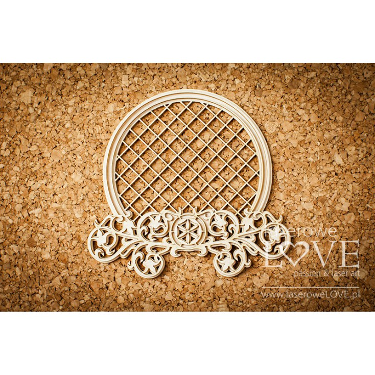 Laser LOVE - cardboard round frame with mesh,highlander ornaments and flowers - Tatra life
