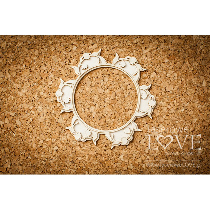 Laser LOVE - cardboard rosette frame with lily of the valley - Baby lily