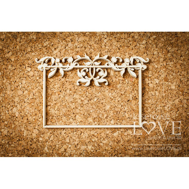 Laser LOVE - cardboard rectangular frame with Lily of the Valley - Baby lily