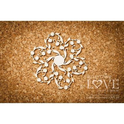 Laserowe LOVE - tekturka rozeta z konwaliami - Baby lily