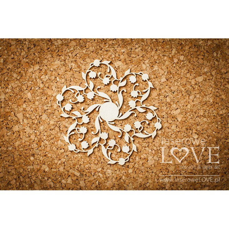Laser LOVE - cardboard rosette with lily of the valley - Baby lily
