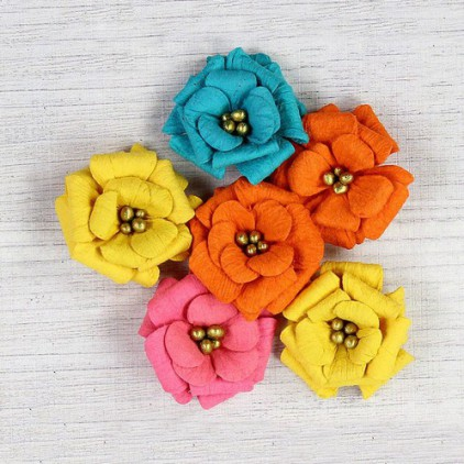 Paper flower set - Little Birdie - Serabella Tropical - 6 flowers.