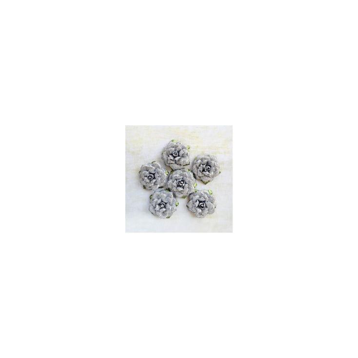 Papierowe kwiaty do rękodzieła - Little Birdie - Sparkle Ingrid Silver - 6 kwiatków