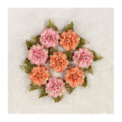 Paper flower set - Little Birdie - Victorian Diane Coral - 8 flowers.