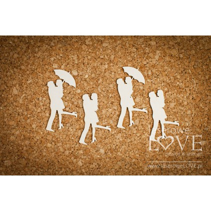 Cardboard - couple under an umbrella - Wedding Day - 4 pcs.- LA171357- Laserowe LOVE