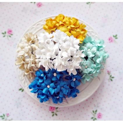 Zestaw papierowych kwiatów - miks 7 - 50 sztuk