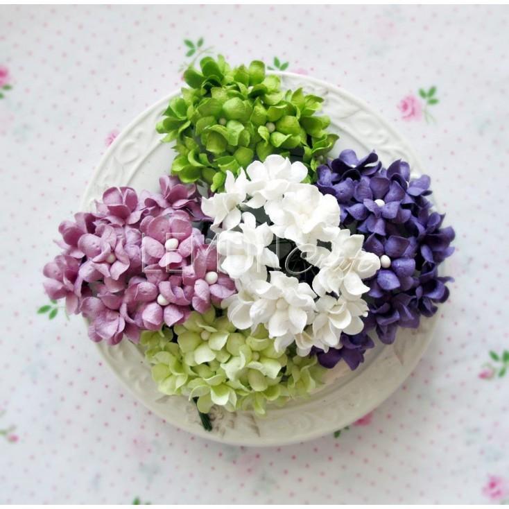 Zestaw papierowych kwiatów - miks 3 - 25 sztuki