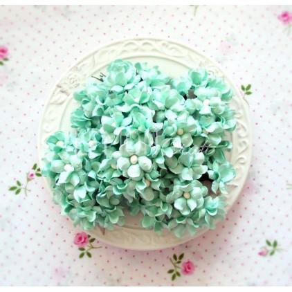 Zestaw papierowych kwiatów - miętowe - 25 sztuki
