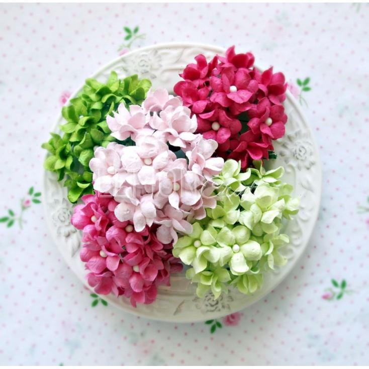 Zestaw papierowych kwiatów - miks 2 - 25 sztuki