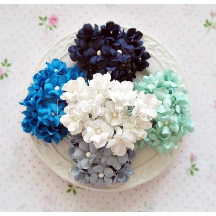 Zestaw papierowych kwiatów - miks 6 - 50 sztuk