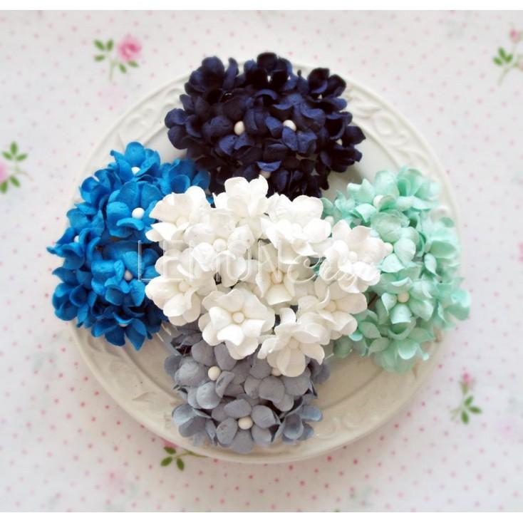 Zestaw papierowych kwiatów - miks 6 - 25 sztuki