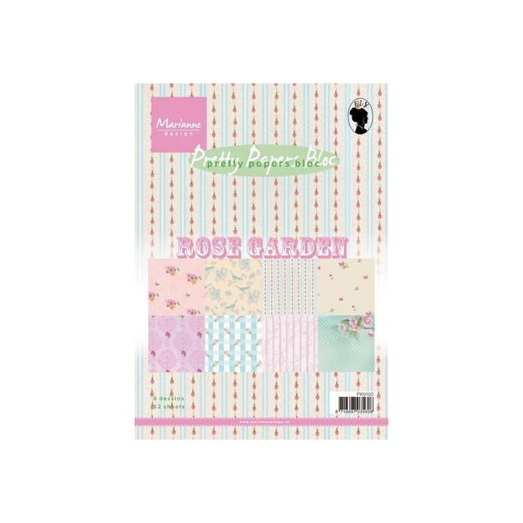 Marianne Design - Mały bloczek papierów do scrapbookingu - Ogród Różany