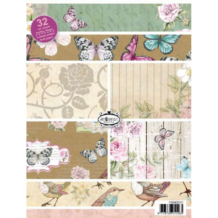 Pad of scrapbooking papers - Botanical