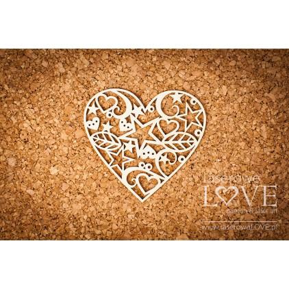 Laserowe LOVE - tekturka Serce świąteczne Herbace