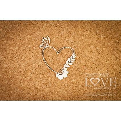 Laserowe LOVE - tekturka Ramka serce z motylem i kwiatem - Soufre