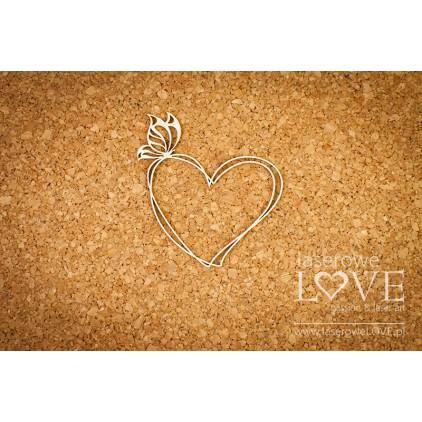 Laserowe LOVE - tekturka Ramka serce z motylem - Soufre