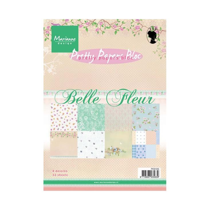 Marianne Design - Mały bloczek papierów do scrapbookingu - Belle Fleur