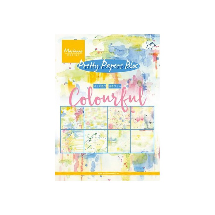 Marianne Design - Pad of scrapbooking papers - Mixed Media - Colourful