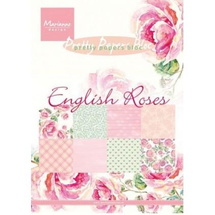 Marianne Design - Mały bloczek papierów do scrapbookingu - Angielskie Róże