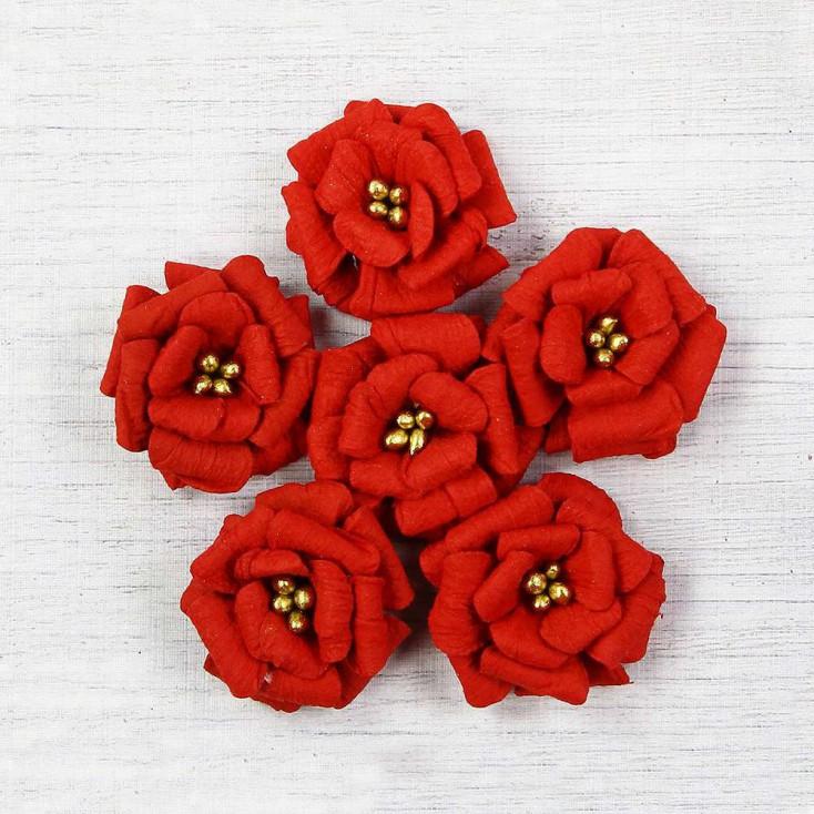 Papierowe kwiaty do rękodzieła - Little Birdie - Serabella Cherry - 6 kwiatków