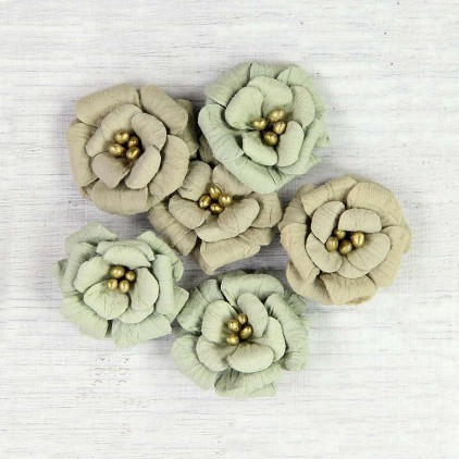 Paper flower set - Little Birdie - Serabella Sage - 6 flowers.