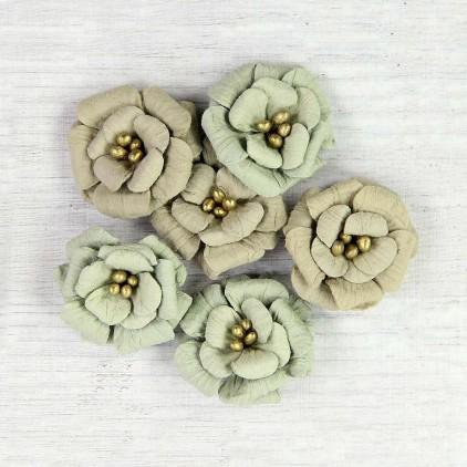 Papierowe kwiaty do rękodzieła - Little Birdie - Serabella Sage - 6 kwiatków