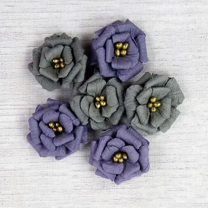 Papierowe kwiaty do rękodzieła - Little Birdie - Serabella Tuscan - 6 kwiatków