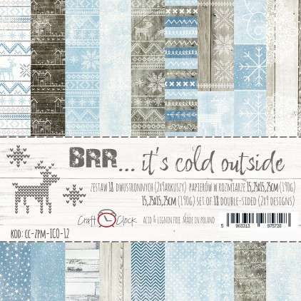 Mały bloczek papierów do tworzenia kartek i scrapbookingu  - Craft O Clock - BRR... it's cold outside