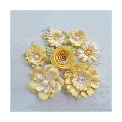 Papierowe kwiaty do rękodzieła - Little Birdie - Argyle Lemon - 7 kwiatków