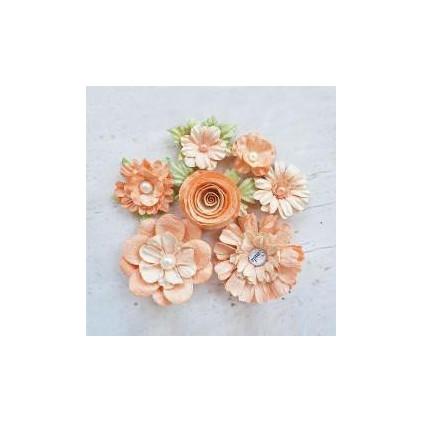 Papierowe kwiaty do rękodzieła - Little Birdie - Argyle Amber - 7 kwiatków