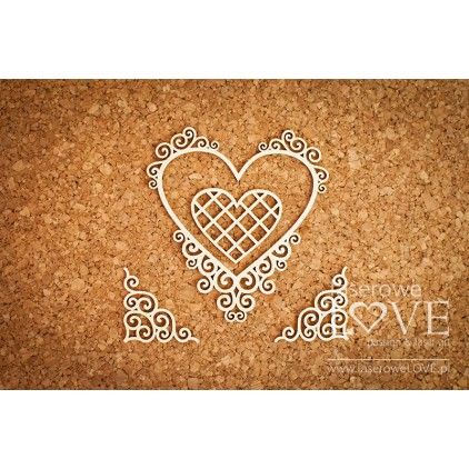 Laser LOVE - cardboard Heart frame with noble ornaments - Paroles