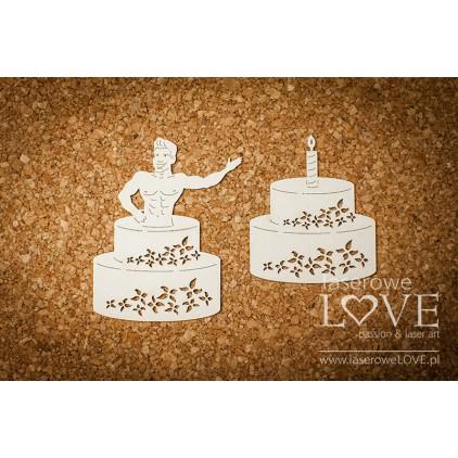 Laser LOVE - cardboard Man in cake - Rosa Italia