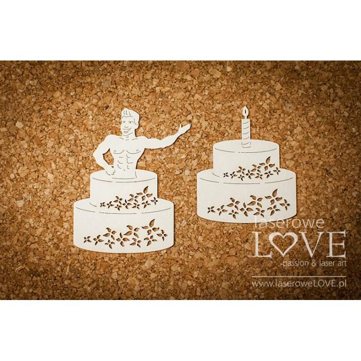 Laserowe LOVE - tekturka Mężczyzna w torcie - Rosa Italia