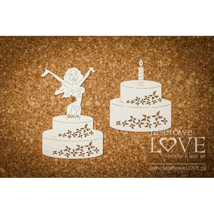 Laser LOVE - cardboard Woman in cake - Rosa Italia