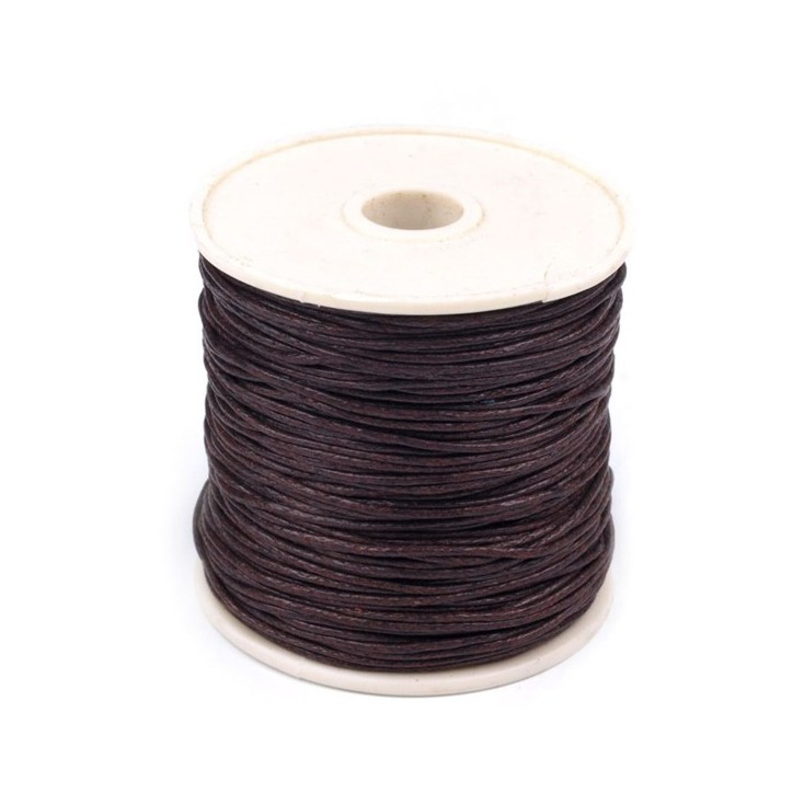 Cotton Waxed Cord - Ø1mm - one spool - dark brown