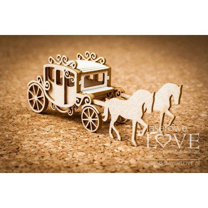 Laser LOVE - cardboard Carriage with 3D horses - Wedding Day