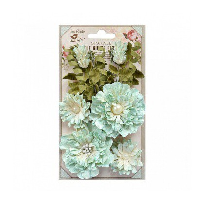 Paper flower set - Little Birdie -  Elsie Ocean Mist - 10 elements.