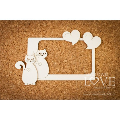 Laser LOVE - cardboard Frame with cats