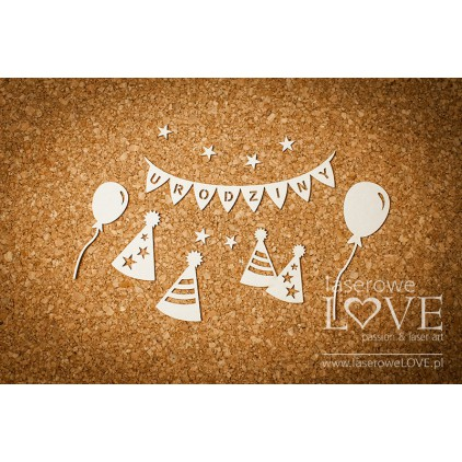 Tekturka Czapki urodzinowe - Rosa Italia -LA16092901 Laserowe LOVE