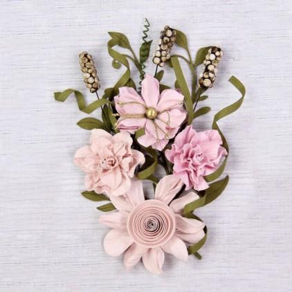 Papierowe kwiaty do rękodzieła - Little Birdie -Caila Blush - 16 elementów
