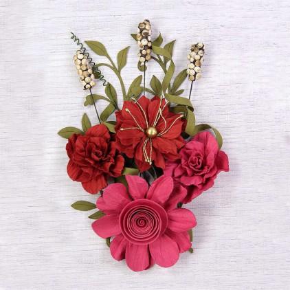 Papierowe kwiaty do rękodzieła - Little Birdie - Caila Passion - 16 elementów.