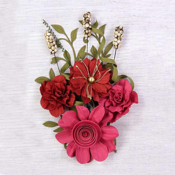 Paper flower set - Little Birdie - Caila Passion - 16 elements