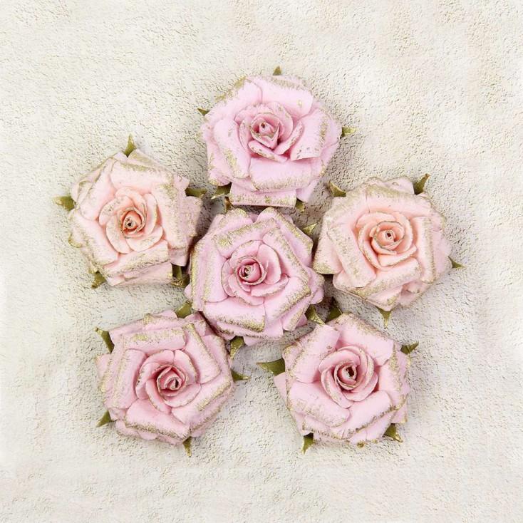 Papierowe kwiaty do rękodzieła - Little Birdie - Victorian Attis - 6 kwiatków