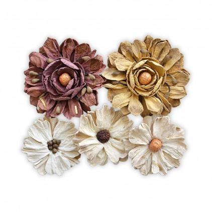 Papierowe kwiaty do rękodzieła - Little Birdie - French Ida - 5 kwiatków.