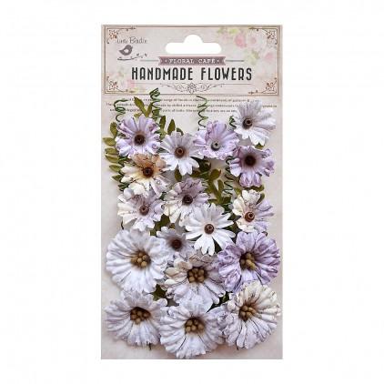 Papierowe kwiaty miks fioletowy - Little Birdie - Fiorella Purple - 25 elementów.