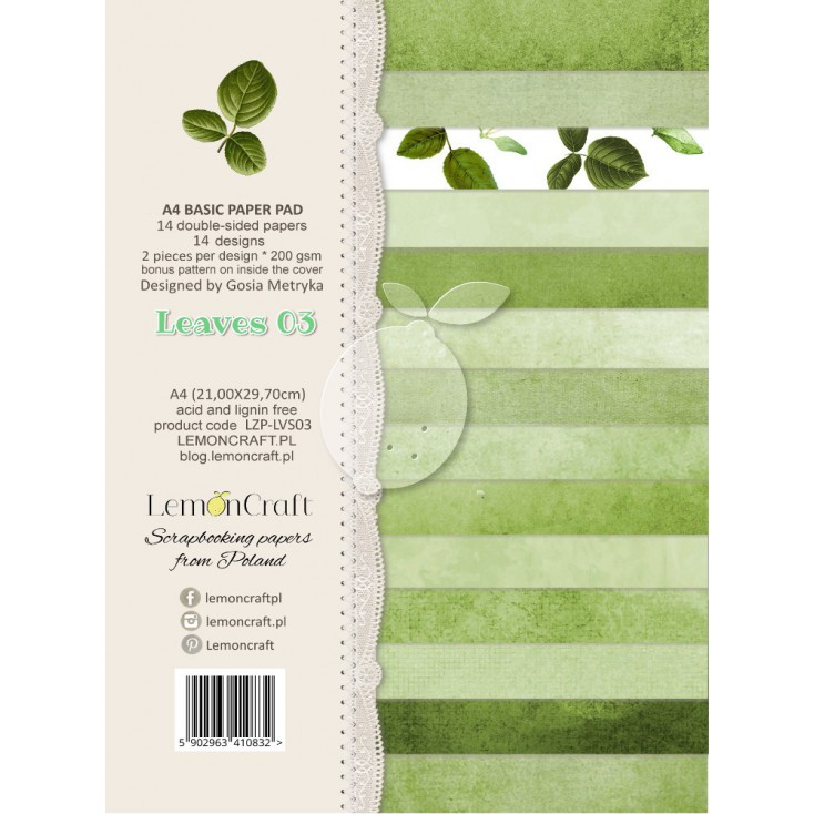 Stack of basic scrapbooking papers - Leaves 03