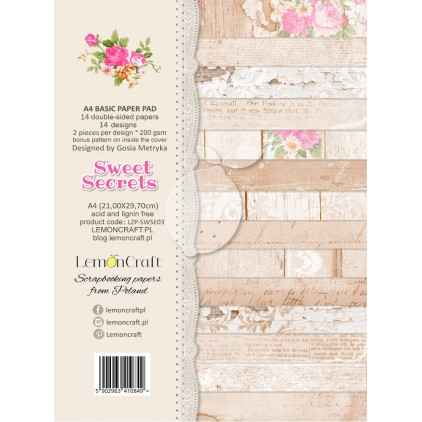 Bloczek papierów bazowych do scrapbookingu - Sweet Secrets A4